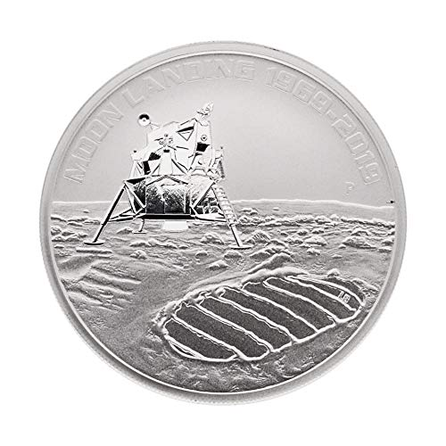 Perth Mint Silbermünze Australien 2019 - 50 Jahre Mondlandung - Moon Landing 1969-2019 - 1 Unze (1 oz) - Prägefrisch - einzeln in Münzkapsel verpackt