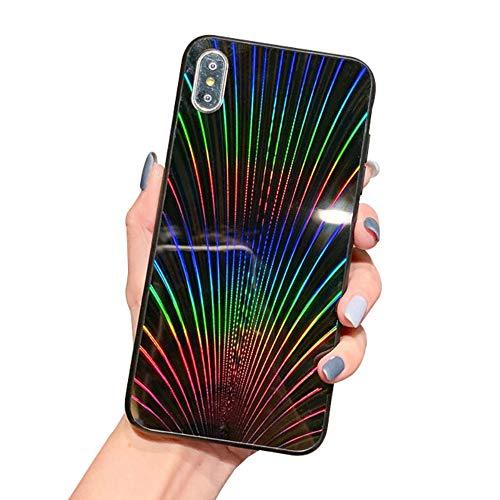 Oihxse Case Compatible pour iPhone X/iPhone 10 Coque Mode 9H Verre Trempé Dur Protection Colore Laser Motif Housse Noir Silicone TPU Souple Bumper Etui Anti Rayures Cover (Noir)
