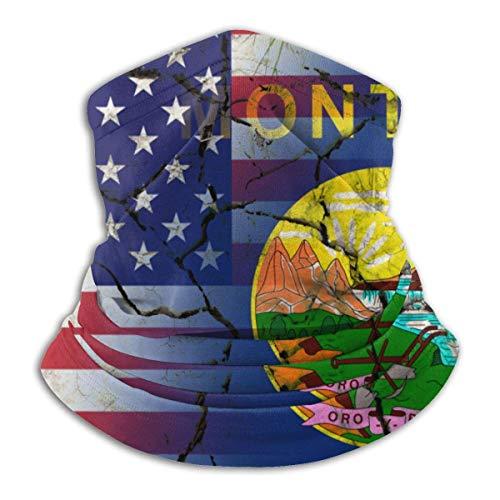 Neck Gaiter America Montana Flag Crack Winter Balaclava Neck Warmer Gaiter Ski Face Cover Neck Gaiter Headband Headwear Face Hats