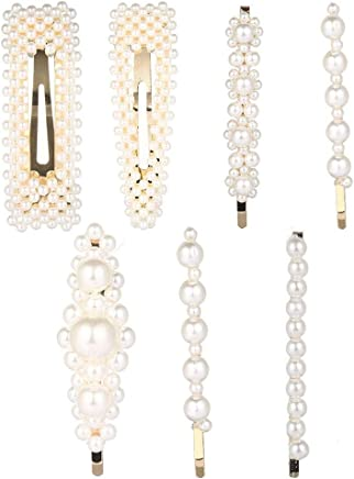 Hamkaw 7 Packs Pearl Hair Clip, Grils Women Bling Artificial Pearl Hair Snap Clips Decorative Fashion Hair Accessories for Party Wedding Daily