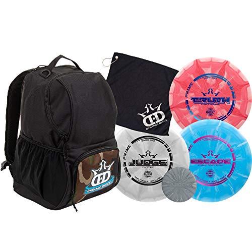 Dynamic Discs Disc Golf Starter Set | Cadet Backpack Disc Golf Bag Included | 17 + Disc Capacity | Prime Burst Frisbee Golf Set Included | Putter, Midrange, Driver | 170g Plus (Woodland Camouflage)