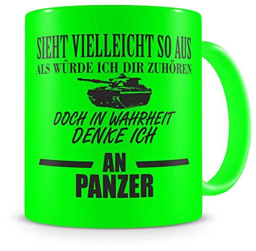 Samunshi® Tasse Panzer Spruch Bundeswehr Geschenke Kaffeetasse Tassen Teetasse Kaffeebecher Soldat neon grün