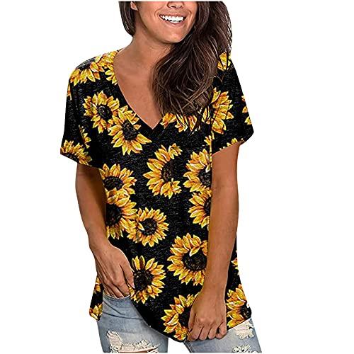 AMhomely Camiseta de verano para mujer, camiseta de manga corta, con estampado de tiras y cuello en V, para mujer