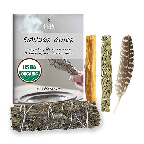 Sage Smudge Kit | USDA Organic Lavender, Sweetgrass, & Palo Santo Stick(s) Smudging Kit for Meditation, Yoga, Reiki, Home Cleansing, & Aromatherapy (Starter Kit, Lavender Sage)