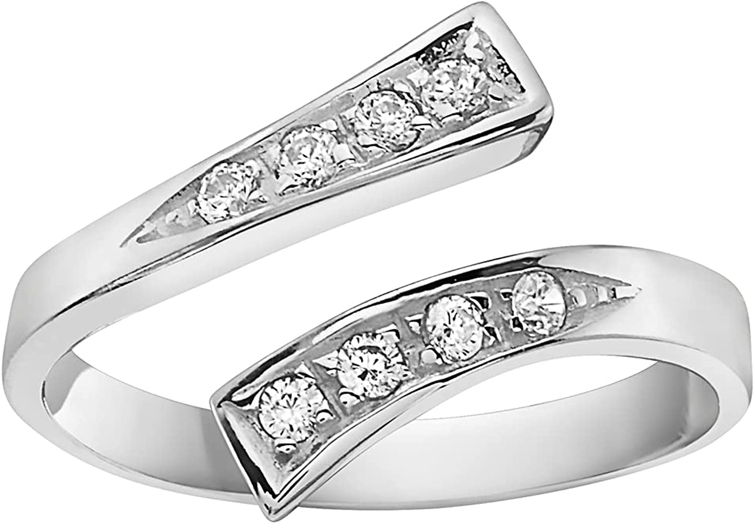 Ritastephens 14K Gold Crossover Shiny CZ Cubic Zirconia Toe Ring or Ring Adjustable (Yellow or White)