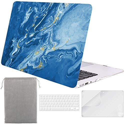 Sykiila for Older MacBook Air 13 Inch Case for 2010-2017 Old Version,Model A1369 / A1466 4 in 1 Hard Shell Case & HD Screen Protector & TPU Keyboard Cover & Sleeve - Blue River Quicksand