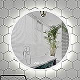 GETZ Espejo de Baño LED Redondo, Espejo de Tocador, Maquillaje de Dormitorio, Espejo Vestido, 3 Colores Claros, Sensor...