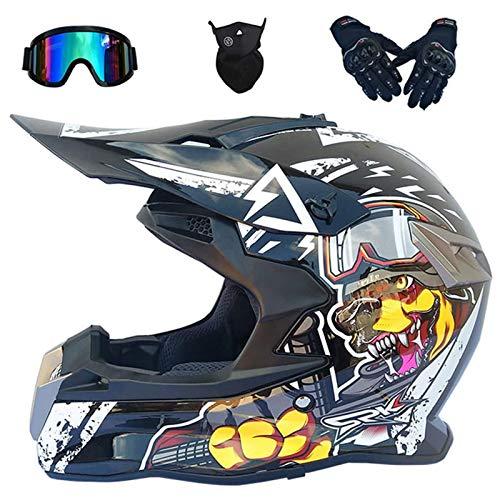 Casco Motocross Niño, Cascos Integrales set,(Gafas/Máscara/Guantes), DTC & ECE Certificación, Casco Downhill...