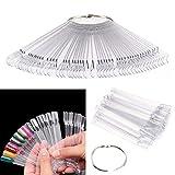PIXNOR 50pcs Nail Art Tips couleur Pop bâtons Display Fan pratique démarreur anneau...
