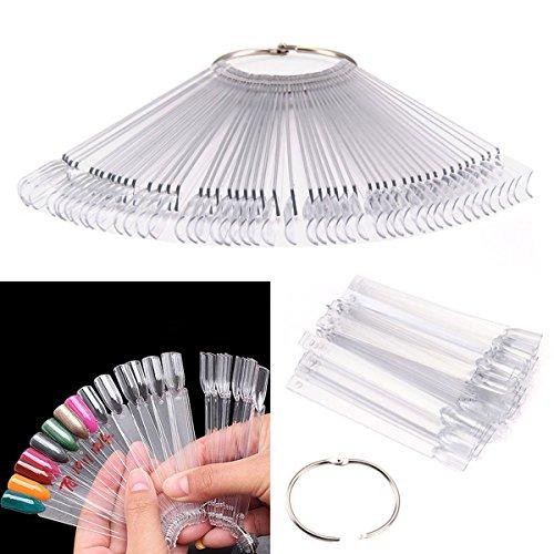 PIXNOR 50 pz Nail Art Tips colore bastoni Pop Display Fan pratica Starter anello chiaro fai da te