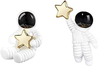 QIAN0813 Creative Cartoon Astronaut Stud Earrings for Women Asymmetric Spaceman Star Earing Hypoallergenic Jewelry