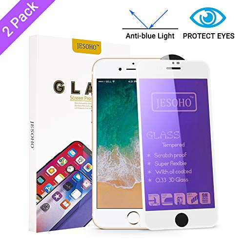 【Eye Protection】JESOHO Anti Blue Light Screen Protector for iPhone 7 Plus/8 Plus White (2Packs), 3D Full Coverage, Anti-Scratches Blue Light Filter Tempered Glass (For iPhone 7 Plus/8 Plus, 5.5 inch)