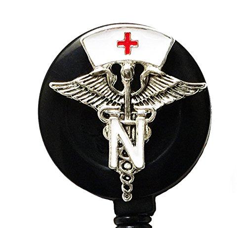 WigsPedia Medical RN Doctor Nurse Rhinestone Retractable Badge Reel/ID Badge Holder/Brooch/Pendant/Id Badge Holder (Medical Caduceus Symbol with White Nurse Hat)