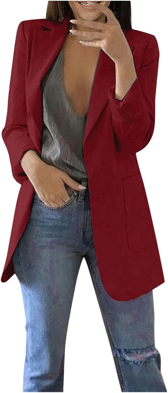 Women's Long Sleeve Blazer Plus Size Solid Color Dressy Jackets Fall Lightweight Loose Work Casual Boyfriend Cardigan