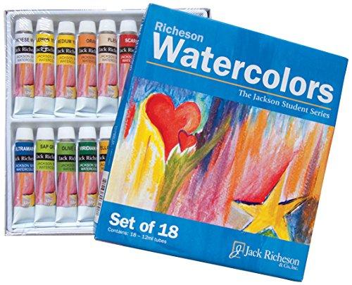 Jack Richeson Paints Watercolors, 12ml, Set of 18