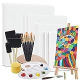 Ensemble de peinture de panneaux de toile, kit de toile pour la peinture, kit de fournitures d'art avec palette, chevalet, pinceaux et plus, peinture sur toile idéale pour la peinture acrylique