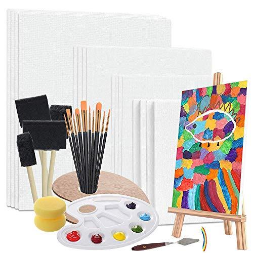 leinwand zum bemalen, leinwand Panels Painting Set, malkarton für Acrylmalerei, Art Supplies Kit mit palette, Schwammpinsel, Staffelei, Paintbrushes und mehr, Painting Art Canvas Ideal für Acrylfarbe