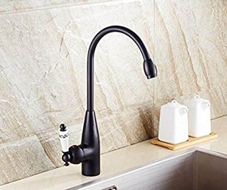 360 ° drehbarer Wasserhahn Retro Wasserhahnschwarz und Chrom-Finish Kalt- und Warmwasserhahn
