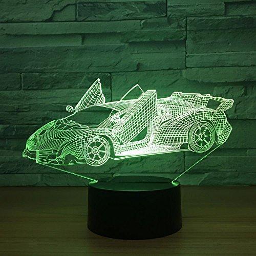3D Sport Auto Optische Illusions-Lampen, Tolle 7 Farbwechsel Acryl berühren Tabelle Schreibtisch-Nachtlicht mit USB-Kabel für Kinder Schlafzimmer Geburtstagsgeschenke Geschenk