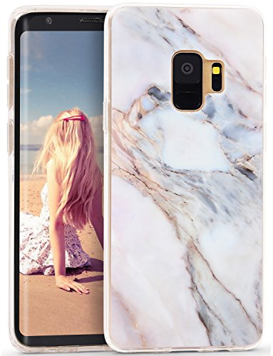 CIUTEK Galaxy S9 Marmor Handyhülle, Matt Scrub Weich Silikon Stein Schlank TPU Bumper Flexible Soft Back Cover Protective Gummi Dünn für Samsung Galaxy S9,Licht Grün