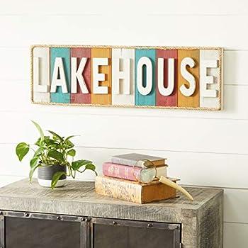 Woodland Imports 48629 Lake House Written Wood Rope Wall Decor