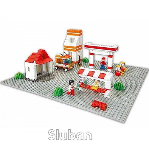 Sluban M38-B0182 B0182 Plateau de Construction 40 x 40 cm Gris Blocks Town Series Basic Building Plate