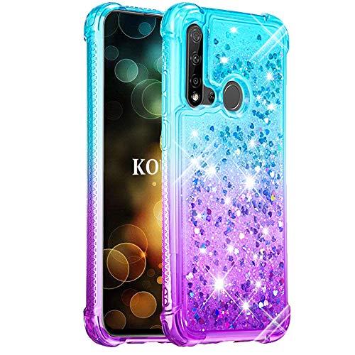 KOUYI Cover Huawei Nova 5i   P20 Lite (2019) [Serie di Sabbie Mobili], Moda Bling Liquido Sparkly Glitter Fluttuante Quicksand Protettivo Slim Custodia (Blu Viola)