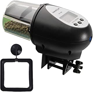 Automatic Fish Feeder, Vacation Aquarium Accessories Auto Supplies for Fish Tank Pond Goldfish Betta Turtle, Feeding Ring Attached