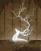 JYSZSD DIY 数字油絵 キャンバスの油絵 白鹿 大人の子供用ギフト 数字キットでペイント ホ ムデコレ ション 40x50 cm (フレームなし)