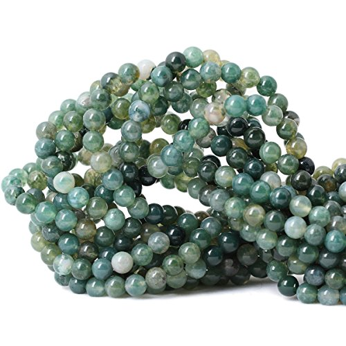 Qiwan 60PCS 6mm Moss Agate Gemstone Loose Beads Natural Round Crystal Energy Stone Healing Power for Jewelry Making 1 Strand 15'