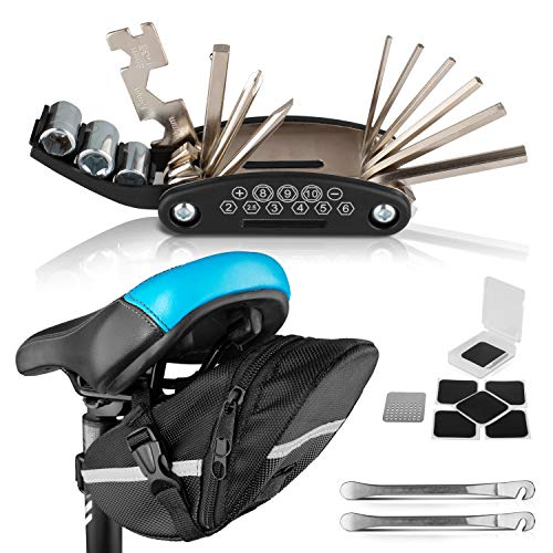 PEPELLIA Multitool Fahrrad Werkzeug [NEU: Metallreifenheber statt Plastik] - 16-in1-Fahrradwerkzeug für unterwegs + Fahrrad Satteltasche - extra leichtes Set - perfektes Fahrrad Zubehör Mountainbike