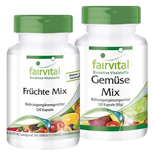 Multivitamin Kapseln aus Obst und Gemüsen-Pulver - Natürlich, hochdosiert & Vegan - mit Vitamine & Mineralien - Früchte & Gemüse Mix - 240 Kapseln (120x2)