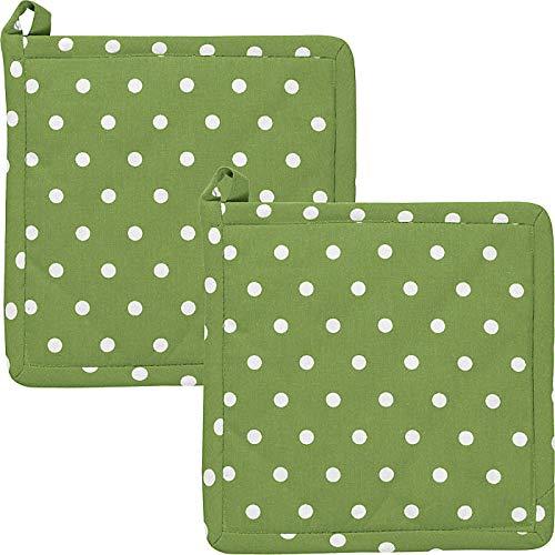 REDBEST Topflappen, Untersetzer Punkte 2er-Pack, 100% Baumwolle grün Größe 20x20 cm- hitzebeständige Wattierung, außen Robustes, glattes Gewebe (weitere Farben)