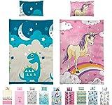 Kinder Bettwäsche, Babybettwäsche 100x135 cm + 40x60 cm 100% Baumwolle für Jungen und Mädchen in verschiedenen Designs Eule Creme