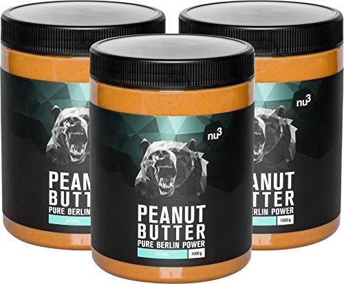nu3 Peanut Butter - 3 kg pure natürliche Erdnussbutter - veganes Erdnussmus ohne Zucker oder sonstige Zusätze von Salz Öl oder Palmfett - mit 28 g Protein pro 100 g - glutenfrei & vielseitig nutzbar