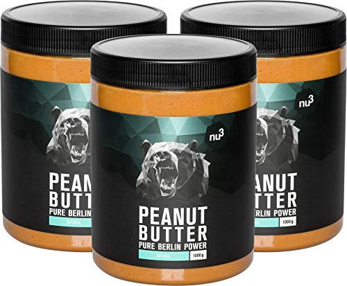 nu3 Peanut Butter - 3 kg pure natürliche Erdnussbutter - veganes Erdnussmus ohne Zucker oder...