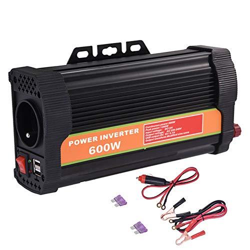 WZTO Convertisseur 600W 12v 220v à 240v,Transformateur Métal Chargeur e Transformateur de Courant avec 2 Prise Française et 2 Ports USB Onduleur