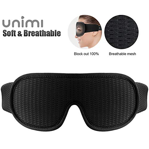 Schlafmaske, Unimi 3D-Schlafmaske mit atmungsaktiven Lüftungsporen, 100{3608df45f5573cdebdfcc461f69df7b0b3b5e3aaa6eda52a29671db115edcbce} lichtblockierend, Schlafbrille für Frauen und Herren mit verstellbarem Gurt, Augenmaske und Augenbinde für Reisen/Yoga