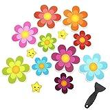 Dylan-EU 13 Stück Dusche Selbstklebend Anti Rutsch Aufkleber mit Plastiklöffel Wasserfest Badewannen Rutschschutz Sticker Pads in Blumen Formen für Kinder Badewanne Badezimmer Dusche