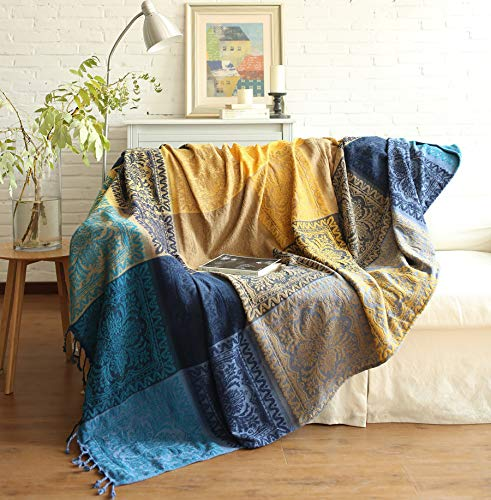 Bohemian Throw Blankets Colorful Chenille Jacquard Tassels Boho Hippie Decorative for Bed Couch Sofa Soft Chair Recliner Loveseat Furniture Cover Blue Yellow-L
