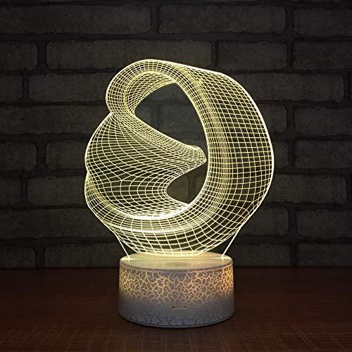 Luz De Noche 7 Colores Que Cambian Led 3D Ilusión Lámpara Acrílica Arte Abstracto Luces Nocturnas Control Remoto Lámpara De Mesa Decoración Del Dormitorio-Bluetooth_Speaker