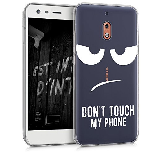 kwmobile Hülle kompatibel mit Nokia 2.1 (2018) - Hülle Silikon transparent Don't Touch My Phone Weiß Transparent