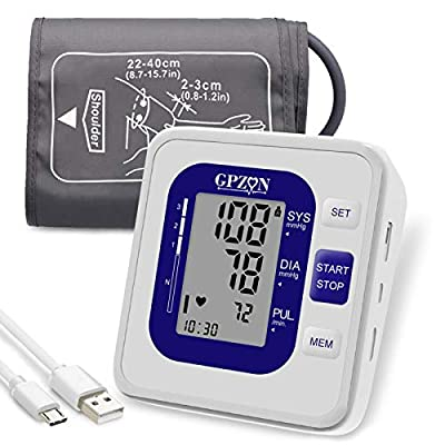 Blood Pressure Monitor Upper Arm, GPZON Accurate Digital BP Monitor with Large Cuff for Home Use, Irregular Heartbeat Diagnosis, Pulse Rate Monitoring Meter,Cuff 22-40cm, 2X120 Memory