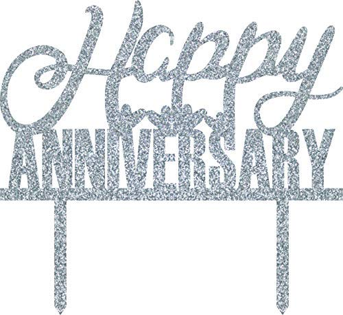 Xylsto Happy Anniversary Cake Topper, Silver | PARTY-ACT-167