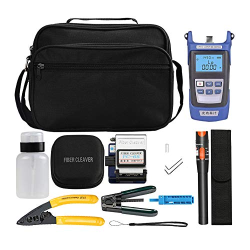 AUA FTTH Kit de herramientas de fibra óptica con contador de potencia de fibra, Localizador visual de defectos, 10 MW, fibra Cleaver FC-6S, pelacables Miller