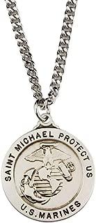 St Michael Us Marines Service Pendant Necklace & Prayer Card