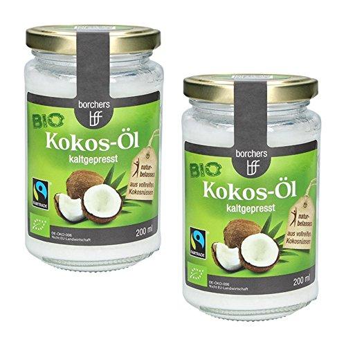 2 x borchers Bio-Fairtrade Kokosöl Nativ, Naturbelassen, Erste Kaltpressung, zum Kochen, Braten & Backen, Vegetarisch und Vegan 200ml
