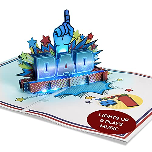 100 Greetings LIGHT & MUSIC Fathers Day Pop Up Card - 3D #1 Dad Card Light Up & Popup - Plays 'SUPERMAN' Themed Song'- Fathers Day card from Daughter - Happy Fathers Day Cards Greeting for Daddy/Papa