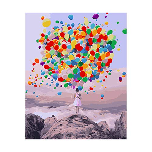Symag Malen nach klassischen Zahlen. Bunte Luftballons auf grauem Hintergrund, 40x50 cm. DYI für Erwachsene und Kinder mit 3 Pinseln und Acrylfarben. Wohnkultur, Hobby