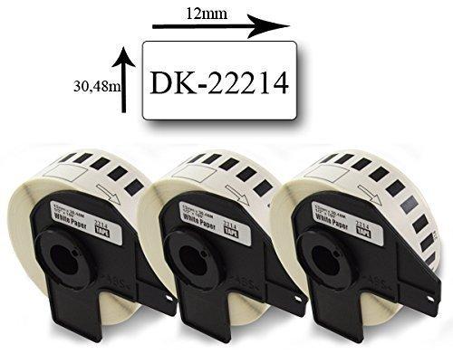 Bubprint 3 Etiketten kompatibel für Brother DK-22214 für P-Touch QL1050 QL1060N QL500 QL500BW QL550 QL560 QL570 QL580N QL700 QL710W QL720NW QL810W